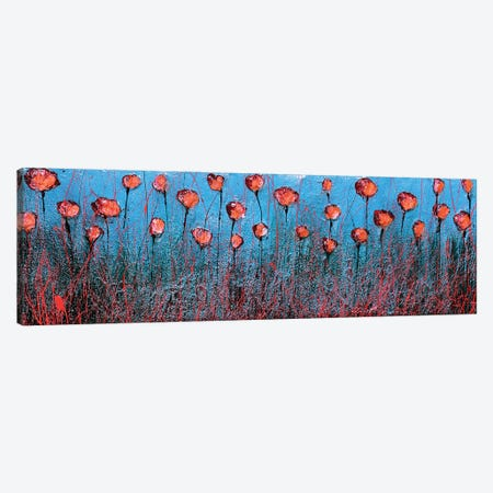 Blu And Poppies Canvas Print #DOM157} by Donatella Marraoni Canvas Wall Art