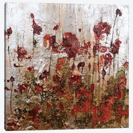 Silver Gold And Poppies Canvas Print #DOM166} by Donatella Marraoni Canvas Print