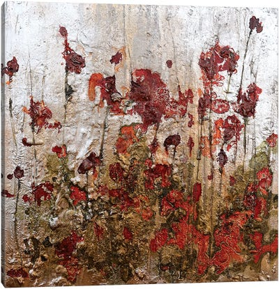 Silver Gold And Poppies Canvas Art Print