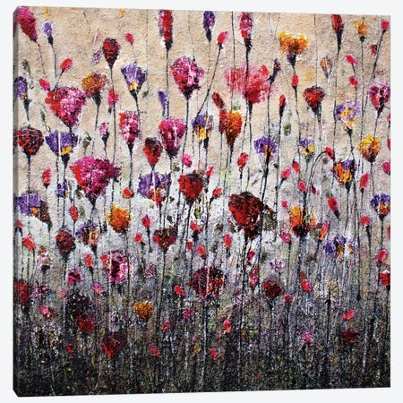 Purple Love And Poppies 3-Piece Canvas #DOM45} by Donatella Marraoni Canvas Art Print