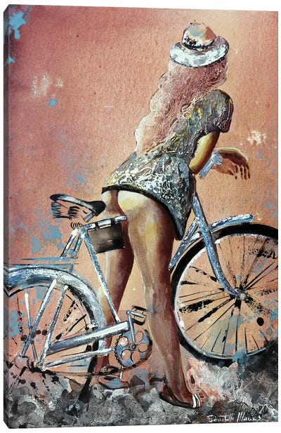 Woman With Her Hat...And Her Bike Canvas Art Print
