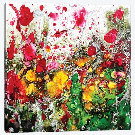 Poppies And Friends In Green Canvas Print #DOM97} by Donatella Marraoni Canvas Wall Art