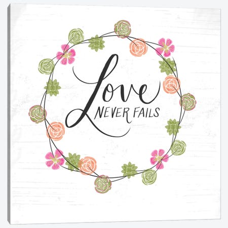 Love Never Fails Canvas Print #DOU20} by Katie Doucette Canvas Wall Art