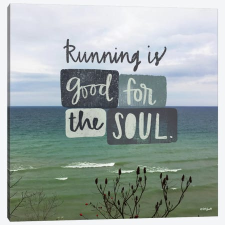 Running Is Good For The Soul Canvas Print #DOU23} by Katie Doucette Canvas Wall Art