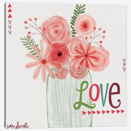 Watercolor Flowers In Jar Canvas Print #DOU30} by Katie Doucette Art Print
