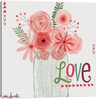Watercolor Flowers In Jar Canvas Art Print
