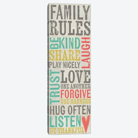Family Rules Canvas Print #DOU9} by Katie Doucette Canvas Print
