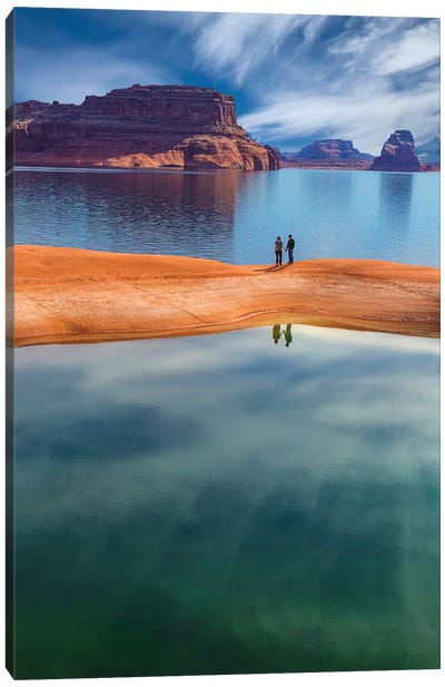 Lone Couple, Lake Powell, Glen Canyon National Recreation Area, Utah, USA Canvas Art Print