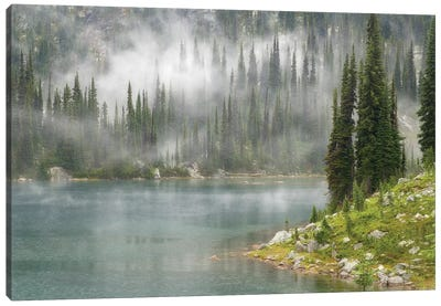 Fog & Rain Over Eva Lake, Mount Revelstoke National Park, British Columbia, Canada Canvas Art Print