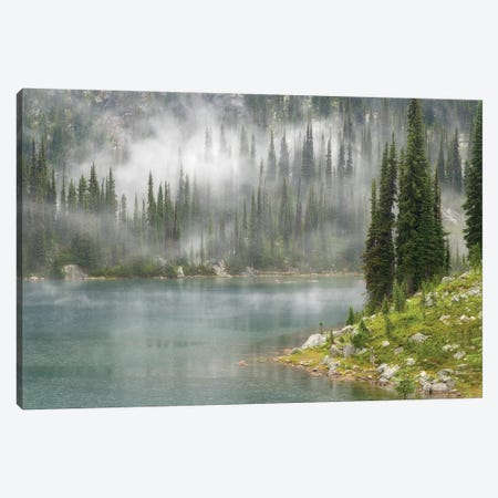Fog & Rain Over Eva Lake, Mount Revelstoke National Park, British Columbia, Canada Canvas Print #DPA1} by Don Paulson Art Print