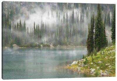 Fog & Rain Over Eva Lake, Mount Revelstoke National Park, British Columbia, Canada Canvas Art Print