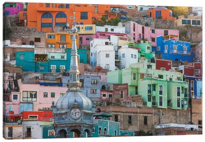 Vibrantly Colored Architecture, Guanajuato, Mexico Canvas Art Print