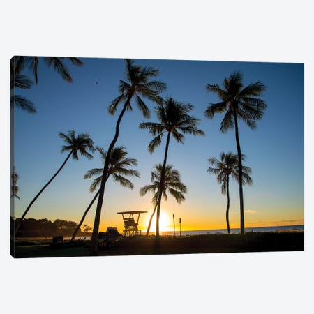 Tropical beach Sunset, Kohala Coast, Kaunaoa Beach, Island of Hawaii Canvas Print #DPE10} by Douglas Peebles Canvas Art