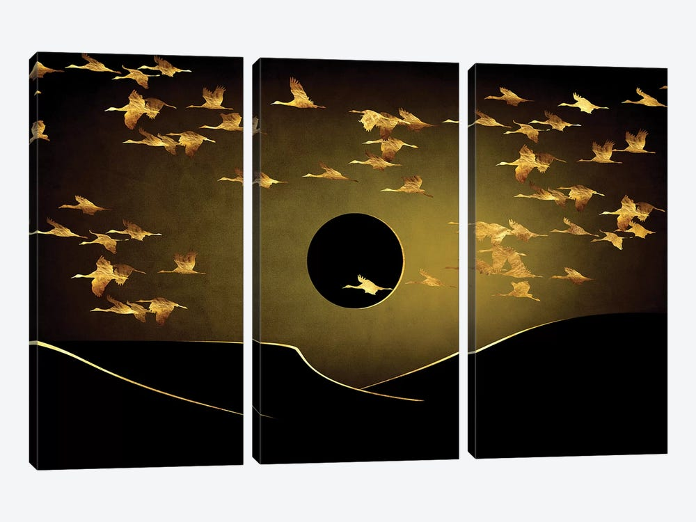 Desert Eclipse by Daphne Horev 3-piece Canvas Art Print