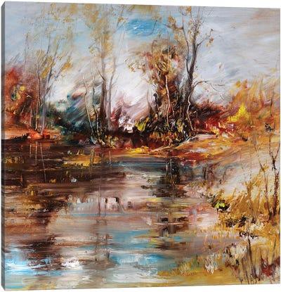 Landscape On The Lake Shore Canvas Art Print