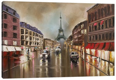 Quiet Rainy Street Canvas Art Print