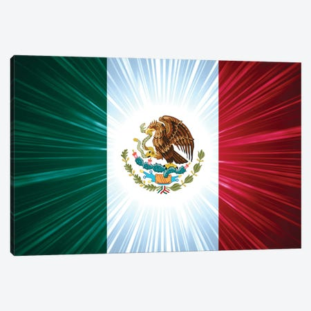 Mexican Flag With Light Rays Canvas Print #DPT114} by marinini Canvas Artwork