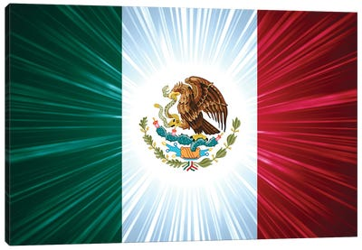 Mexican Flag With Light Rays Canvas Art Print