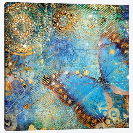 Messy Blue Background With Butterfly Canvas Print #DPT117} by Maugli Canvas Art