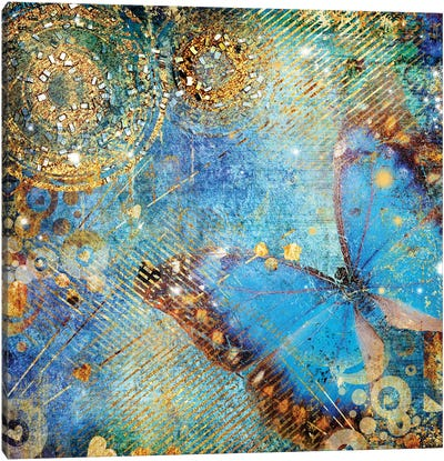 Messy Blue Background With Butterfly Canvas Art Print