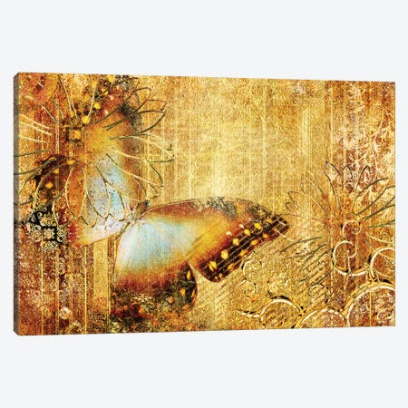 Golden Colors With Butterfly Canvas Print #DPT119} by Maugli Canvas Art Print