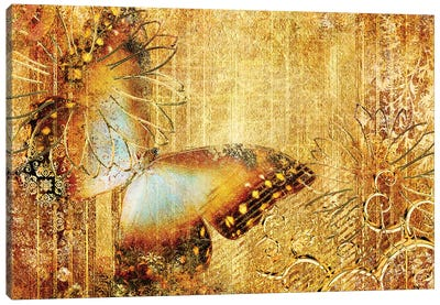 Golden Colors With Butterfly Canvas Art Print
