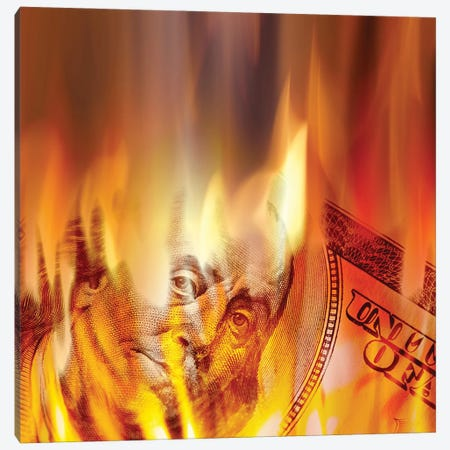 Money Burning In Flames Canvas Print #DPT11} by ArenaCreative Canvas Print