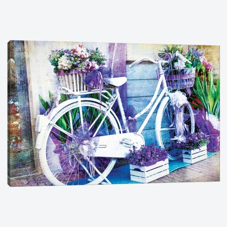 Vintage Floral Bike Canvas Print #DPT122} by Maugli Canvas Artwork