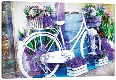 Vintage Floral Bike Canvas Art Print