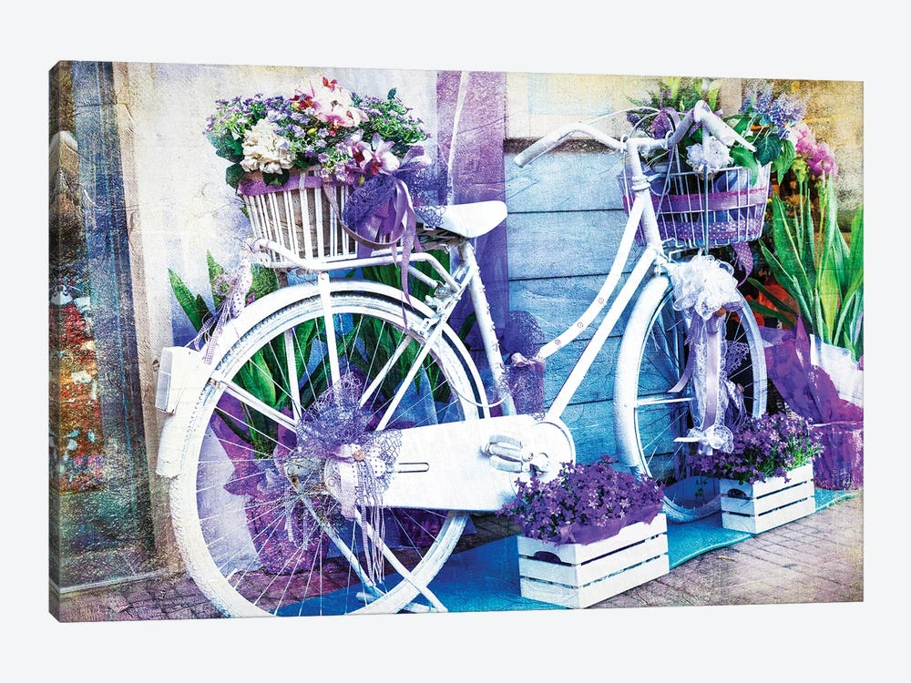 Vintage Floral Bike by Maugli 1-piece Canvas Art