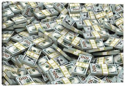 Packs Of Dollars Background. Lots Of Cash Money. Canvas Art Print