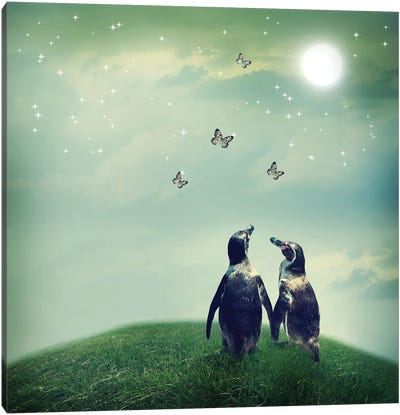 Penguin Couple In Fantasy Landscape Canvas Art Print