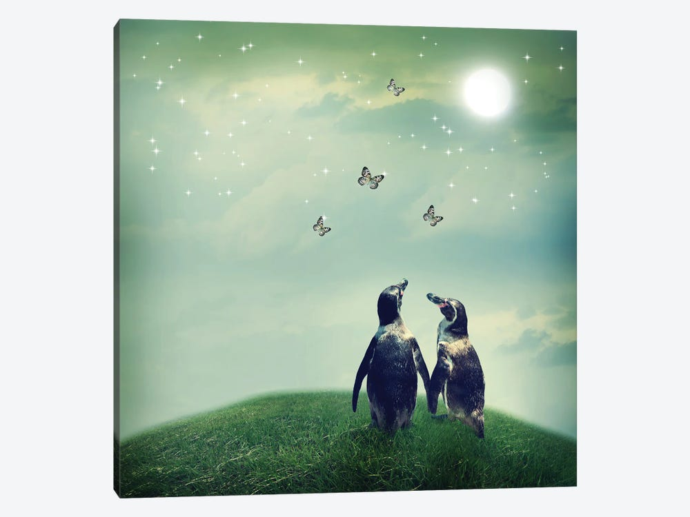 Penguin Couple In Fantasy Landscape by Melpomene 1-piece Art Print