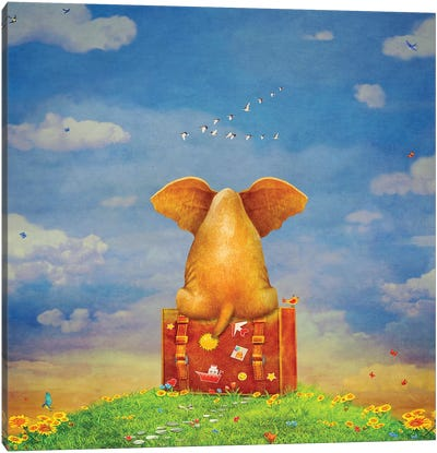 Elephant Sitting On The Suitcase On The Glade ,Illustration Art Canvas Art Print
