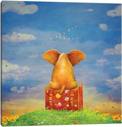 Elephant Sitting On The Suitcase On The Glade ,Illustration Art Canvas Art Print