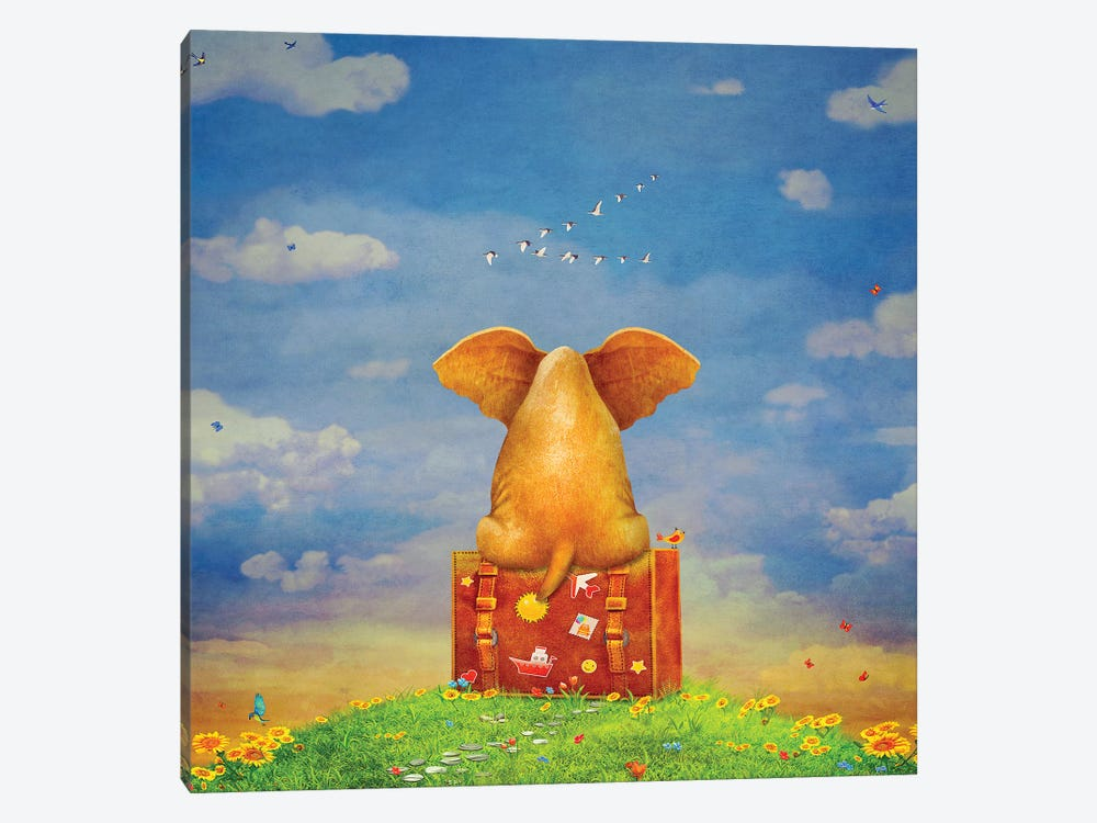 Elephant Sitting On The Suitcase On The Glade ,Illustration Art by natamc 1-piece Canvas Artwork
