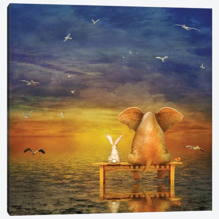Elephant And Rabbit Sit On A Bench And Look At Sunrise Canvas Print #DPT129} by natamc Canvas Art