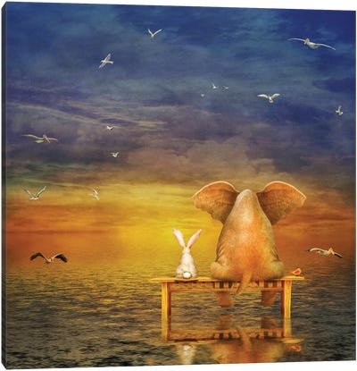 Elephant And Rabbit Sit On A Bench And Look At Sunrise Canvas Art Print