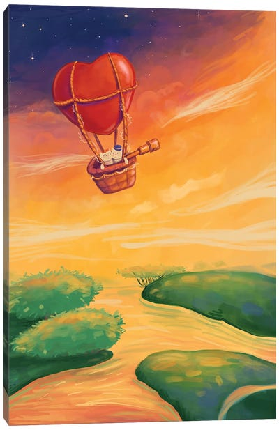 Two Cats Travelling Together In A Heart-Shaped Balloon Canvas Art Print