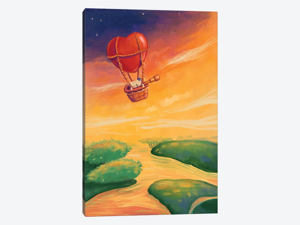 Two Cats Travelling Together In A Heart-Shaped Balloon by Artlover 1-piece Canvas Art