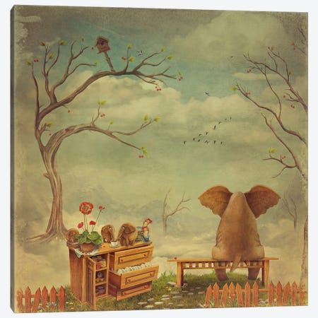 Elephant On A Bench In The Sky Canvas Print #DPT130} by natamc Canvas Art Print