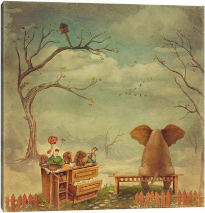Elephant On A Bench In The Sky Canvas Art Print