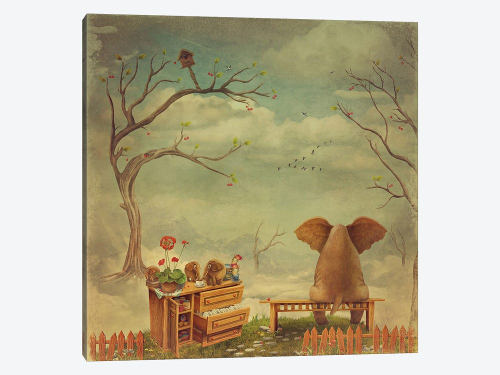 Elephant On A Bench In The Sky by natamc 1-piece Canvas Print