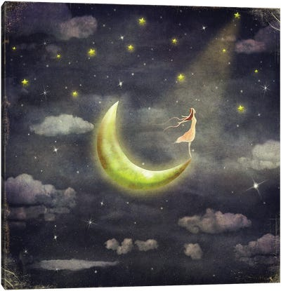 The Girl Who Admires The Star Sky Canvas Art Print