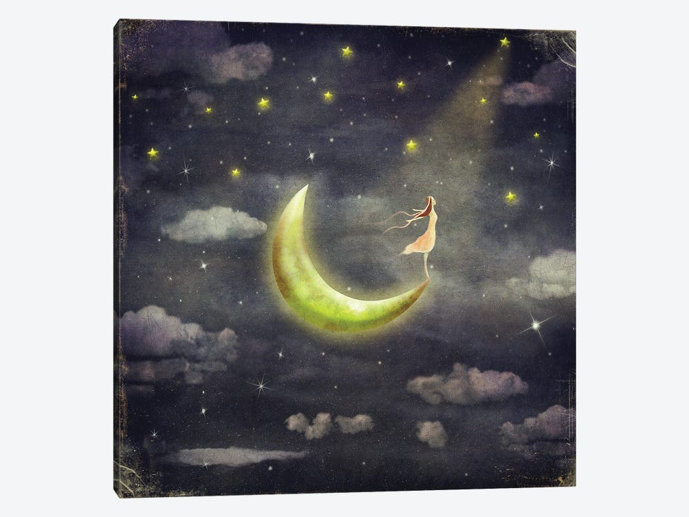 The Girl Who Admires The Star Sky by natamc 1-piece Canvas Print