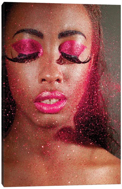 Woman In Creative Makeup And Glitter Canvas Art Print