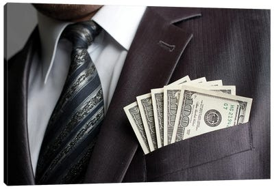Businessman With Money In Suit Pocket Canvas Art Print
