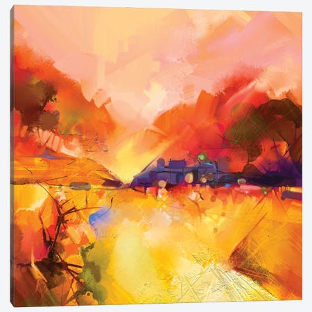 Colorful Yellow And Red Landscape Canvas Print #DPT145} by Nongkran ch Art Print