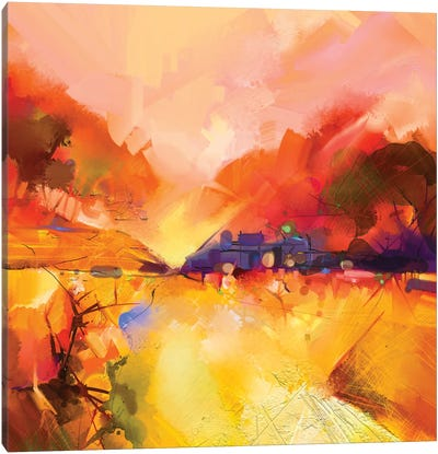 Colorful Yellow And Red Landscape Canvas Art Print