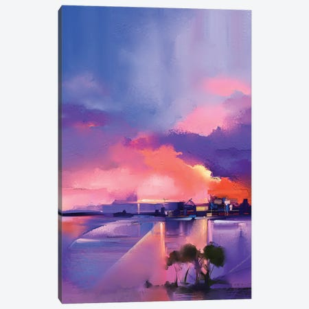 Twilight, Sunset, Colorful Orange And Purple Sky Canvas Print #DPT147} by Nongkran ch Art Print